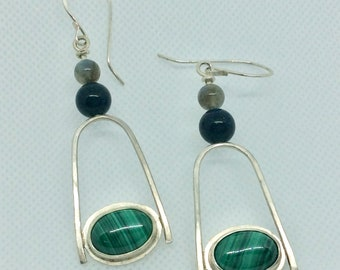 Malachite and sterling dangle earrings with labradorite and blue goldstone - handmade gemstone and silver - earthy boho style