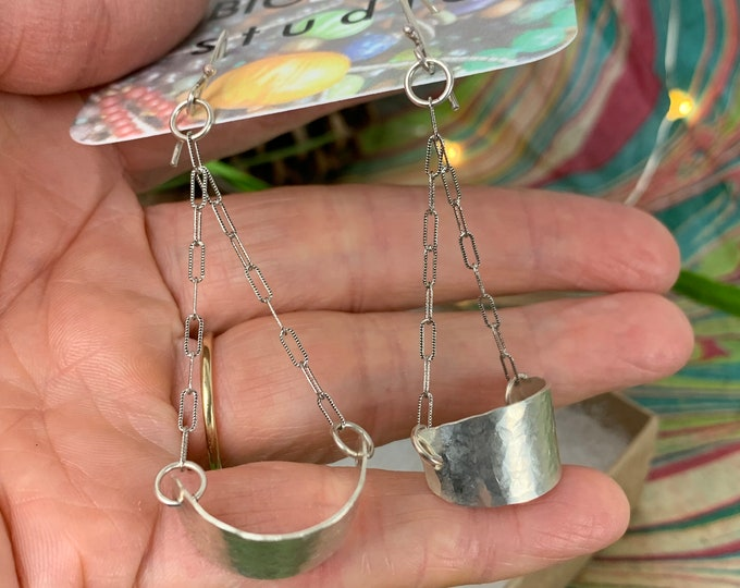 Featured listing image: Hand forged sterling and chain Swing earrings - recycled sterling silver jewelry