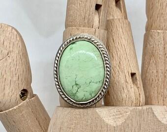 Lemon chrysoprase statement ring size 8, set in sterling silver