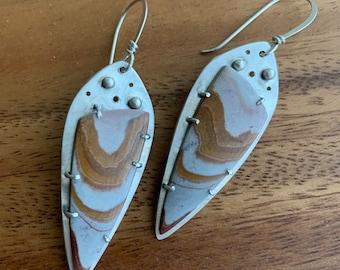 Earthy Jasper stone earrings for women - boho chic gemstone dangle earrings in sterling silver setting - natural, organic, one of a kind