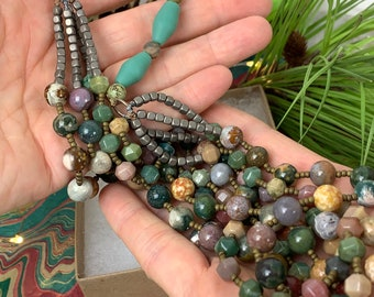 Ocean jasper beaded necklace - multi-strand beaded choker with earthy colors - short statement necklace in fall colors