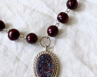 Druzy stone pendant set in sterling silver with a freshwater potato pearl and sterling chain.