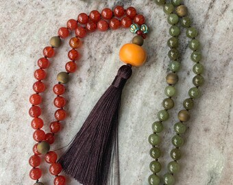 Long, beaded mala necklace with jade, carnelian and amber. 108 beads, healing stones, made with love.