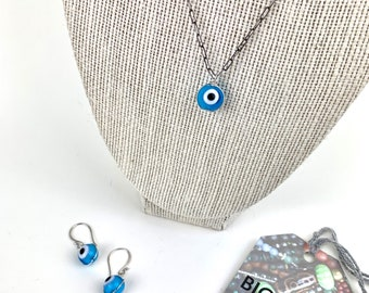 Evil eye charm necklace and earrings set, protection talisman glass bead jewelry, gift for her, hippie jewelry, boho style