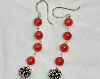 Carnelian bead dangle earrings - 50% off beaded drop earrings - sterling ear wires