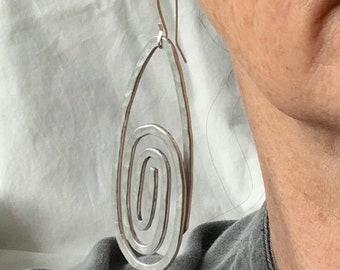 Long spiral dangle earrings in aluminum wire