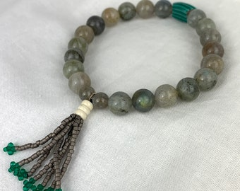 Labradorite and beaded tassel bracelet with antique African trade bead.