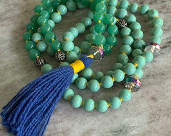 Green aventurine bead mala necklace - Swarovski crystal prayer bead necklace with tassel - 108 bead mala for yoga and meditation