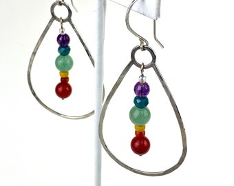 Rainbow gemstone earrings, chakra colors dangle earrings, sterling and gemstone pride earrings