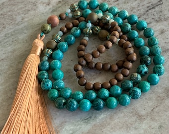 Long beaded mala necklace - traditional 108 count of chrysocolla beads and wood - long beaded necklace in blues and browns