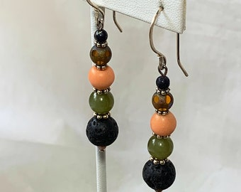 Beaded earrings with green jade and lava stone at 50% off - Gemstone and sterling dangle earrings - sale earrings