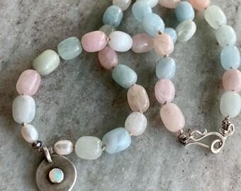 Boho statement necklace- opal pendant and morganite beads- short choker length - pastel colored gemstone beads - bold feminine jewelry
