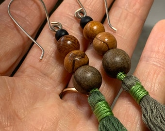 Dangle earrings in browns and greens with wood beads, handmade tassels and sterling silver ear wires. 50% off sale earrings