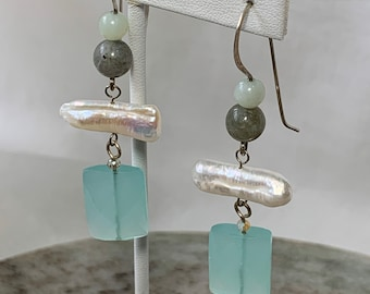 50 % off! Beaded dangle earrings with aqua chalcedony, freshwater pearl and labradorite. Sterling silver ear wires.