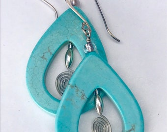 Turquoise drop earrings with sterling silver spiral