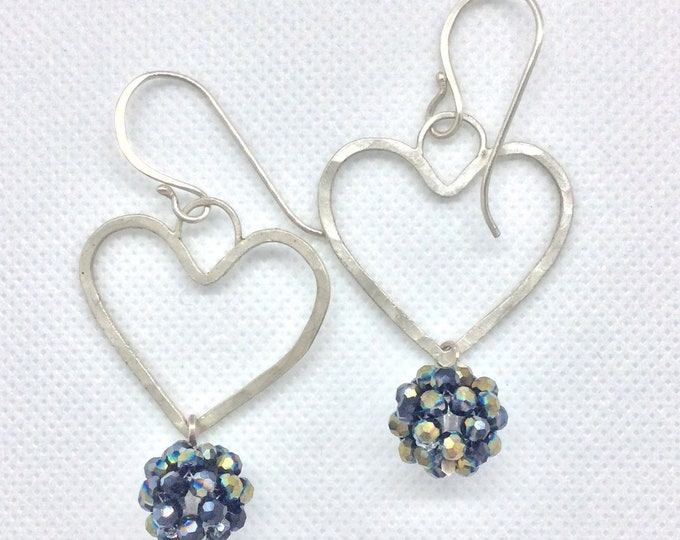 Featured listing image: Sterling wire heart shaped dangle earrings with a woven crystal bead drop