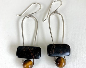 Tiger eye earrings for women - gemstone and sterling jewelry - artisan crafted, one-of-a-kind handmade earrings - earthy gemstone earrings.