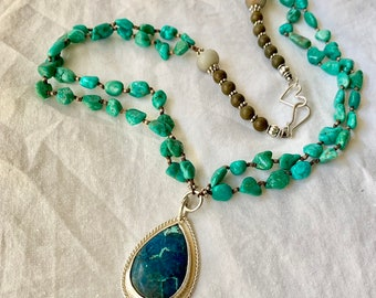 Shattukite and sterling pendant with a double strand of genuine turquoise