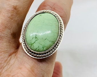 Size 8 statement ring with Lemon Chrysoprase set in sterling silver