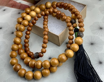108 bead mala necklace with Jackfruit tree wood and handmade tassel.