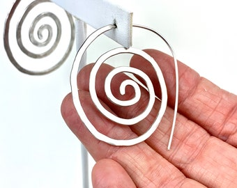 Sterling silver spiral earrings, infinity symbol, recycled sterling boho style jewelry, spiral design jewelry aesthetic, geometric shape