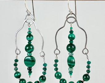 Long malachite beaded earrings, green chandelier earrings with sterling silver and raw emerald. Unique boho style earrings for Spring.