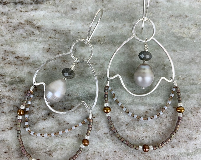 Featured listing image: Freshwater pearl and sterling dangle earrings - silver and pearl drop earrings - boho style jewelry for women - pearl jewelry for mom