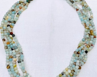Short beaded necklace - Amazonite choker - Multi-strand beaded choker in greens and blues