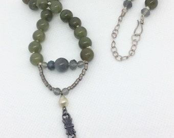 Beaded jade necklace