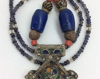 Moroccan silver and enamel cross necklace