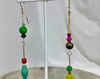 Colorful asymmetrical beaded earrings with brass and sterling silver - on trend fun dangle earrings for free spirited women