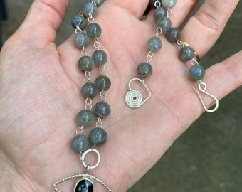 Evil eye charm and labradorite beaded necklace