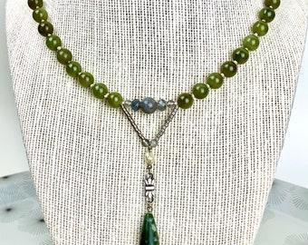 Beaded jade necklace - art nouveau style jade necklace - short jade bead necklace
