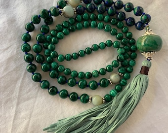 Malachite and azurite beaded mala necklace with cotton fiber tassel.