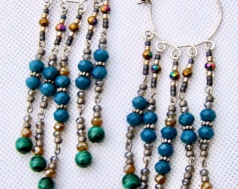 Chandelier earrings in greens and blues with malachite beads and sterling silver. Now 50% off!