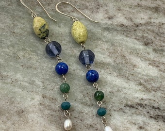 Yellow turquoise, glass, lapis, pearl and aventurine beads in long dangle earrings are 50% off.
