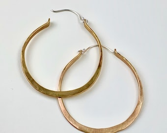Brass wire large hoop earrings - forged metal hoops with hinged ear wire - round brass hoops with sterling ear wires