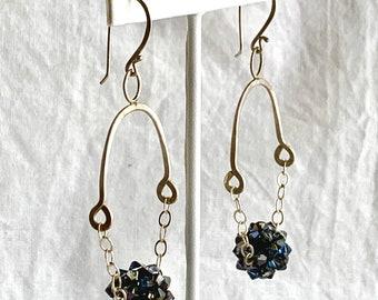 Swarovski crystal chandelier earrings - Boho chic jewelry - sterling silver and crystal bead dangle/chandelier earrings.