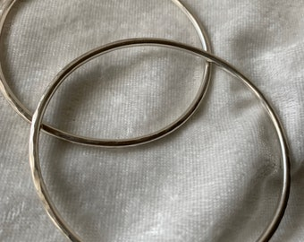 Sterling silver bangle bracelet(s) - hand forged recycled sterling - boho style stackable bangle bracelet - unisex jewelry for men and women