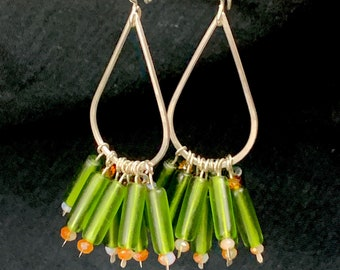 Sterling and green glass bead dangle earrings