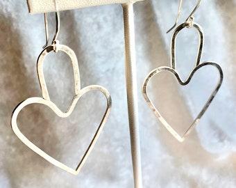 Minimalist heart shaped earrings in sterling silver - minimalist dangle heart earrings - sterling silver ear wires - jewelry gift for her