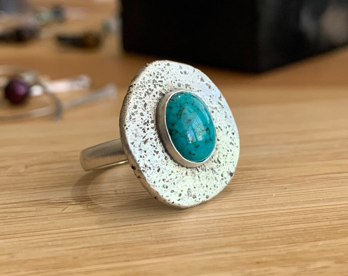 Featured listing image: Turquoise and silver statement ring size 7-1/2 - unisex turquoise ring - handmade one-of-a-kind jewelry - modern boho style