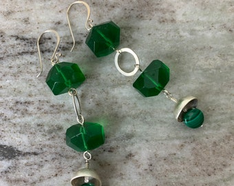 Green glass bead earrings - dangle earrings with malachite and sterling -statement earrings for women - handmade original design with silver