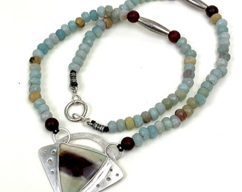 Short beaded statement necklace - opalized wood pendant in sterling setting with amazonite bead strand. Boho gemstone jewelry for women