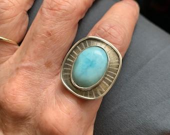 Larimar stone statement ring, size 8 - large aqua blue stone ring - boho larimar and sterling silver unisex ring- ocean blue gemstone