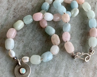 Colorful statement necklace- opal pendant and morganite beads- short choker length - pastel colored gemstone beads - bold feminine jewelry