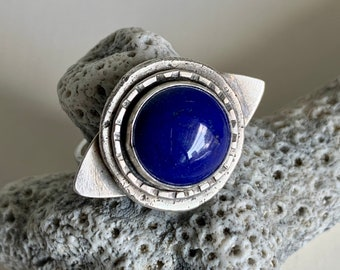 """Lapis """"evil eye"""" ring, size 8, talisman symbol, mystical jewelry - protection from evil spirits. Lapis lazuli ring for men and women."""