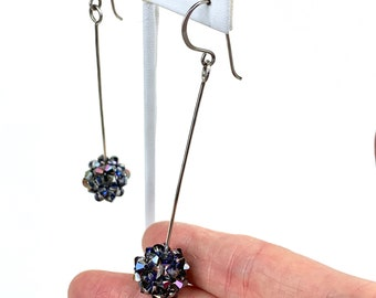 Sparkly crystal bead dangle earrings - Swarovski crystal jewelry for women - handwoven crystal beads - boho chic unique design