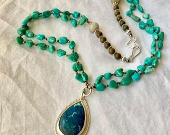 Turquoise statement pendant necklace- shattukite stone pendant- turquoise bead linked chain- turquoise nugget beads- throat chakra