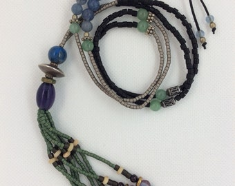 Boho style beaded tassel necklace in green, gray and blue - classy and casual one of a kind beaded necklace with natural gemstone beads